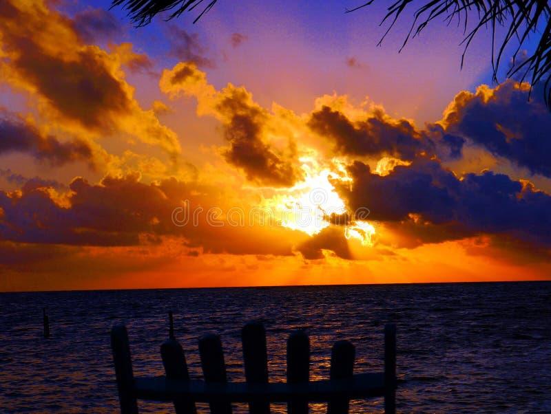 Van de het panorama oceaanzomer van het zonsondergangstrand de tijdvakantie stock foto's