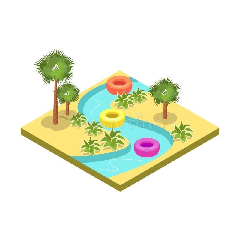 Van de het parkaantrekkelijkheid van het jonge geitjeswater het isometrische 3D element royalty-vrije illustratie