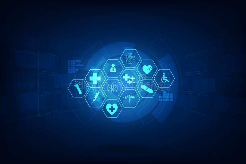Van de het patroon medische innovatie van het gezondheidszorgpictogram het conceptenachtergrond D stock illustratie