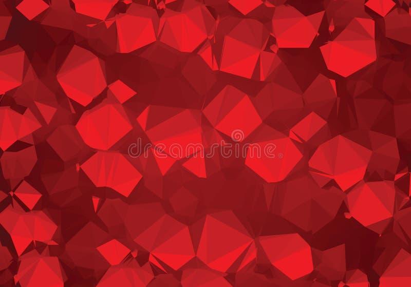 Van de het patroonluxe van de achtergrond de abstracte driehoeksmeetkunde robijnrode kristallen vector illustratie