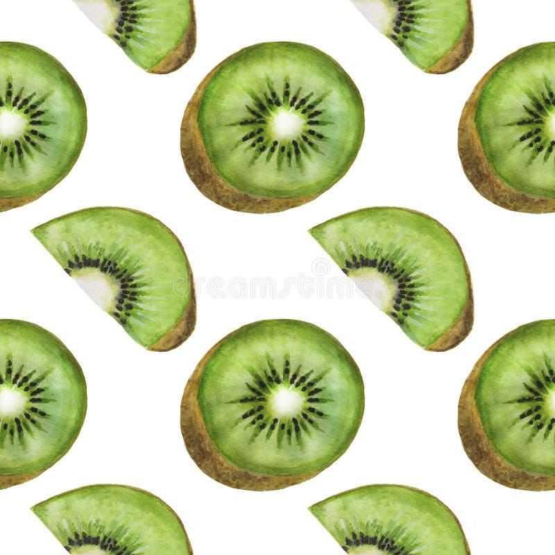 Van de het patroonwaterverf van het kiwifruit van de illustratiekeerkringen het voedsel Digitale document Textiel Botanische de L royalty-vrije illustratie