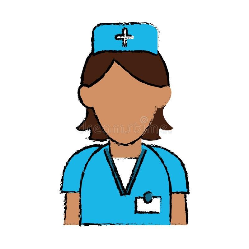 Van de het personeelszorg van de beeldverhaalverpleegster kruis van de de kliniek het eenvormige hoed royalty-vrije illustratie
