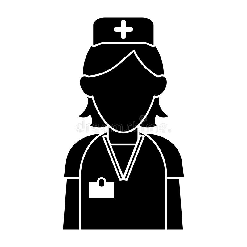 Van de het personeelszorg van de silhouetverpleegster kruis van de de kliniek het eenvormige hoed vector illustratie
