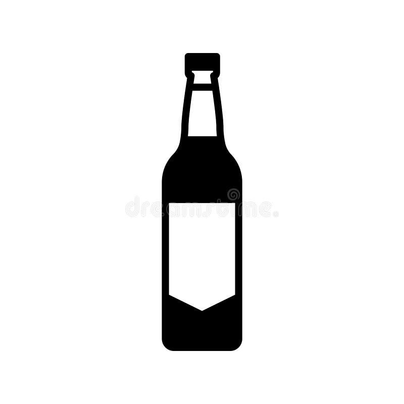 Van de het pictogram de eenvoudige vlakke stijl van de alcoholfles vectorillustratie royalty-vrije illustratie