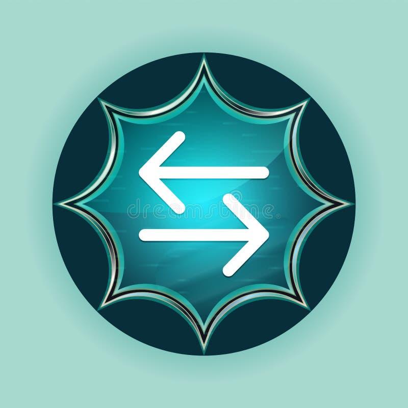 Van de het pictogram de magische glazige zonnestraal van de overdrachtpijl van de de knoophemel blauwe blauwe achtergrond stock illustratie