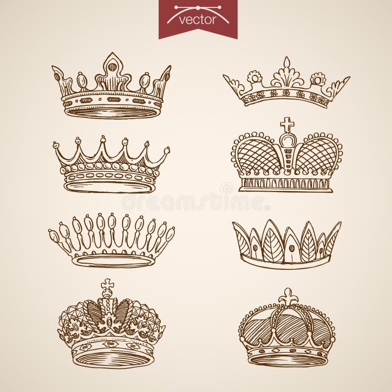 Van de het pictogram vastgestelde gravure van de konings de koninklijke kroon retro uitstekende vector lineart royalty-vrije illustratie