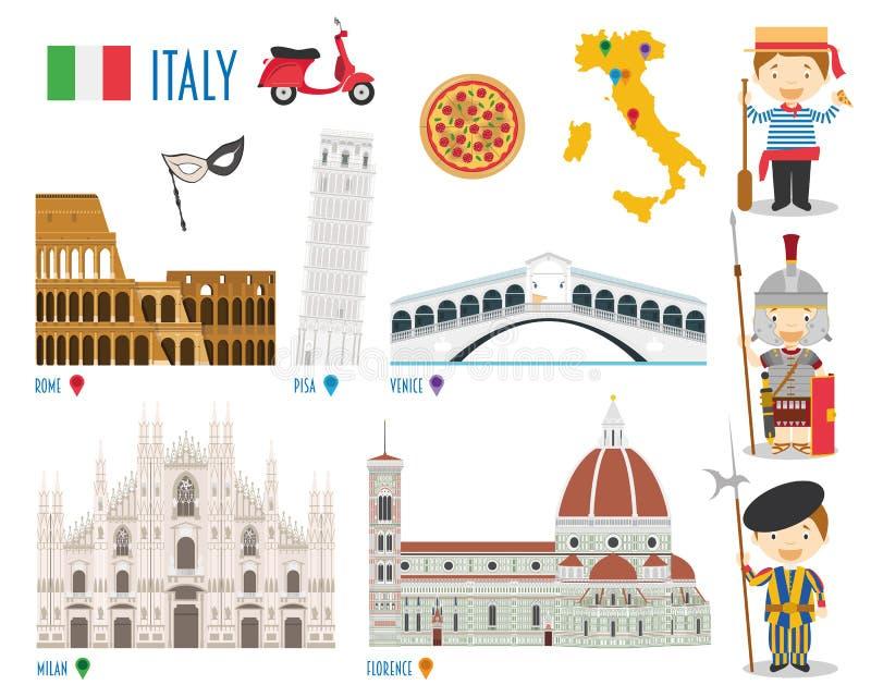 Van de het Pictogram Vastgestelde Reis van Italië de Vlakke Vectorillustratie stock illustratie