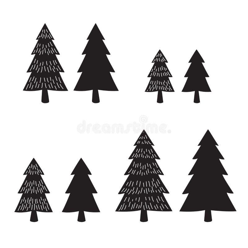 Van de het pictogram de vector houten bossneeuw van het kerstboomembleem illustratie van Santa Claus royalty-vrije illustratie