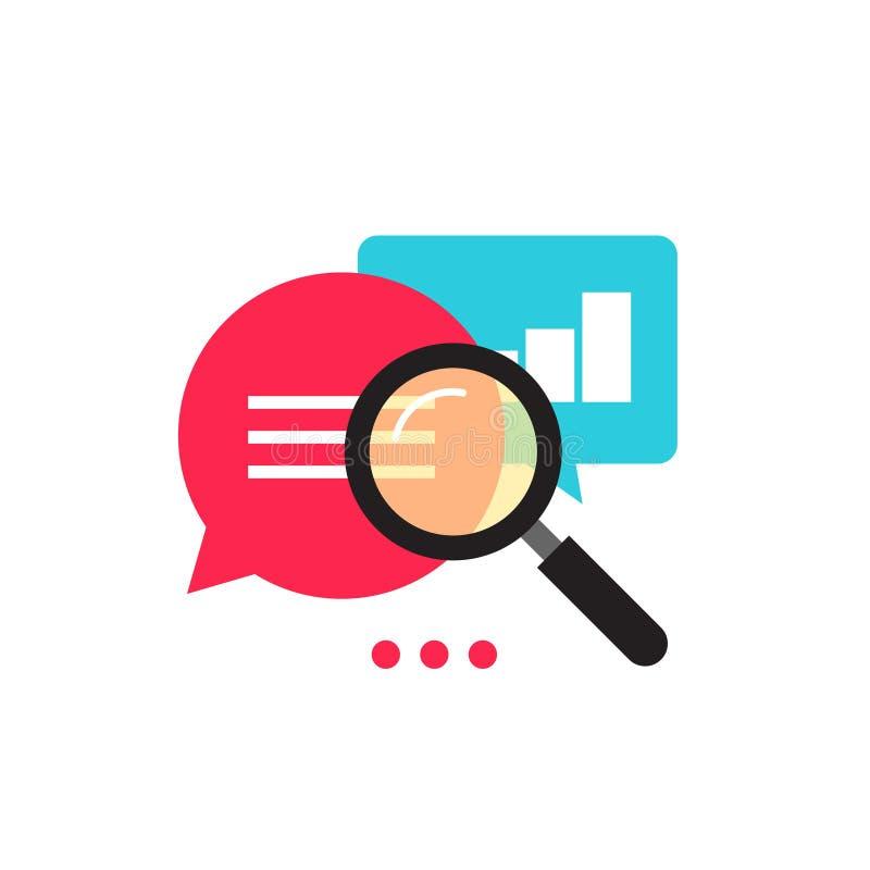 Van de het pictogram vector, vlakke stijl van het statistiekenonderzoek de analysegegevens met de groeigrafiek royalty-vrije illustratie