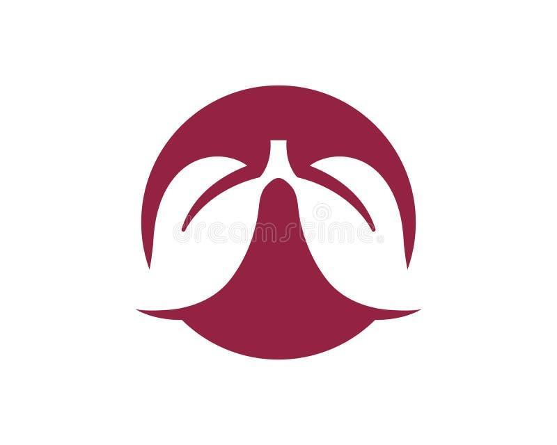 van de het pictogram vectorillustratie van het longenembleem de bladerenontwerp royalty-vrije illustratie