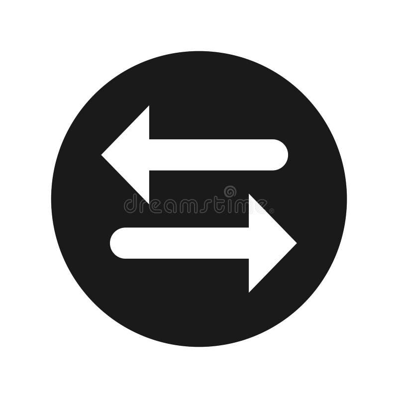 Van de het pictogram de vlakke zwarte ronde knoop van de overdrachtpijl vectorillustratie vector illustratie