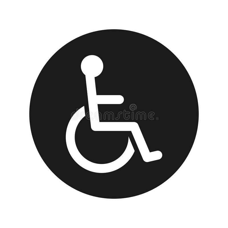 Van de het pictogram de vlakke zwarte ronde knoop van de rolstoelhandicap vectorillustratie royalty-vrije stock afbeeldingen