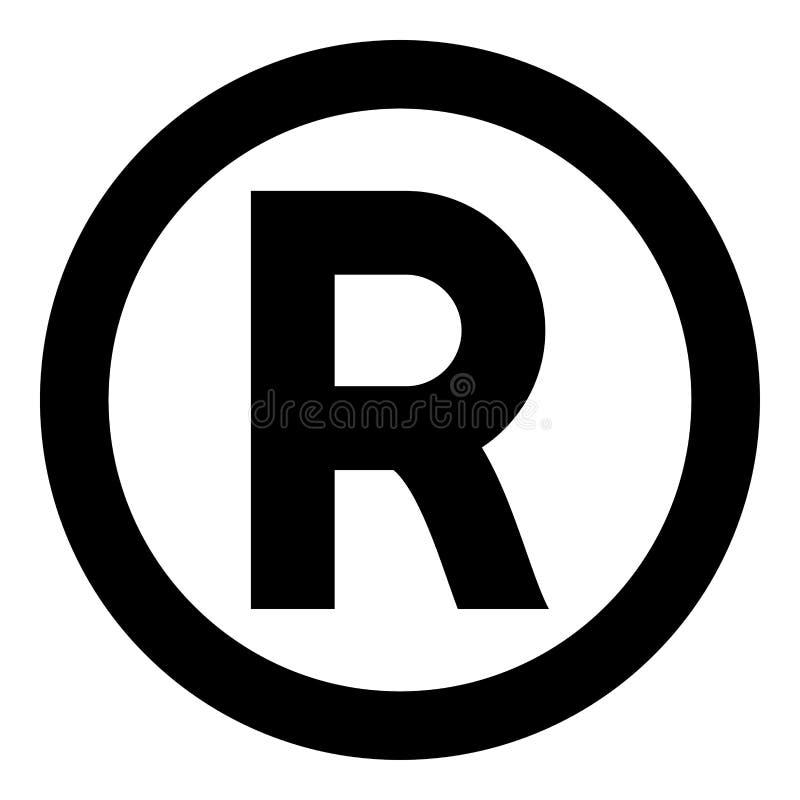 Van de het pictogram het zwarte kleur van het symboolauteursrecht van de de illustratie vlakke stijl eenvoudige beeld stock illustratie