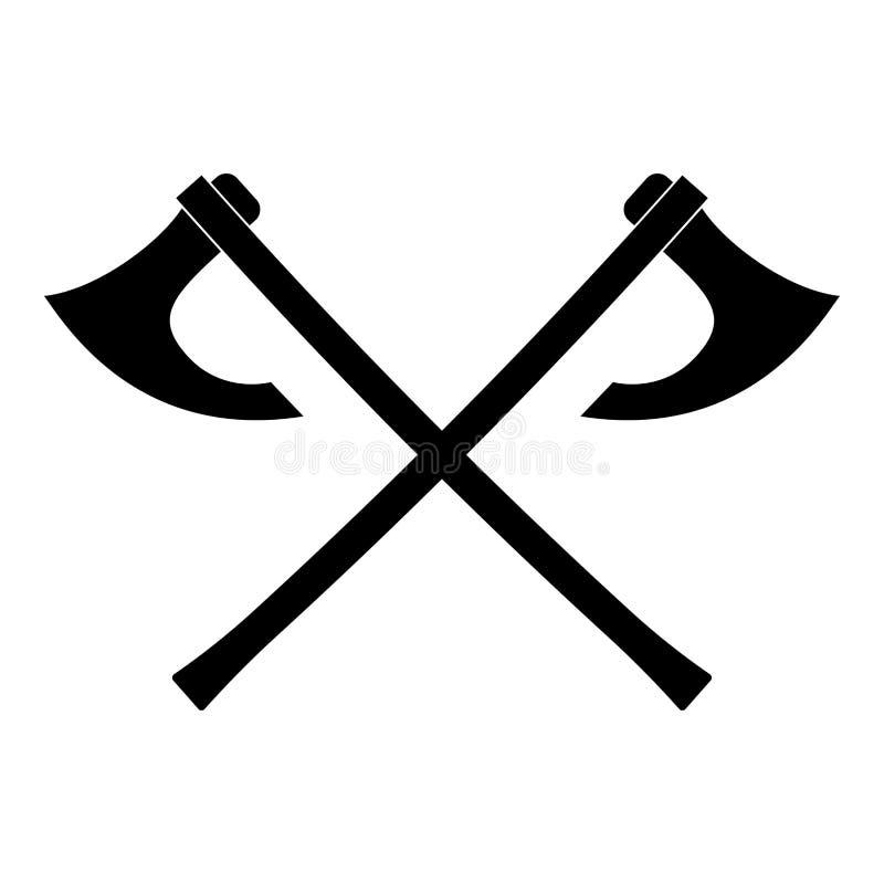 Van de het pictogram het zwarte kleur van twee Vikingen van slagassen beeld van de de illustratie vlakke stijl vector vector illustratie