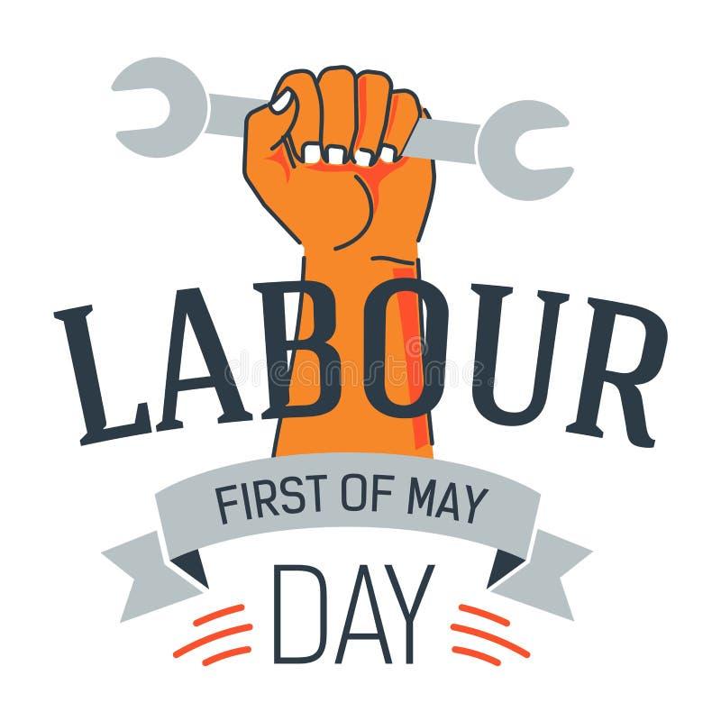 Van de het pictogramhand van de arbeidsdag van de de holdingsmoersleutel de vakantie van Mei vector illustratie
