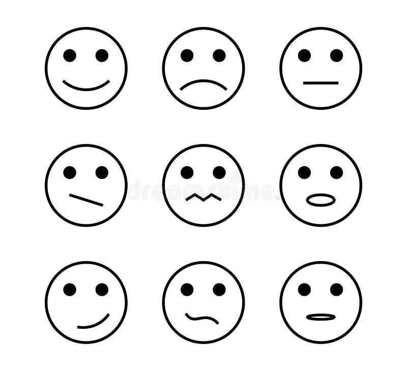 Van de het pictogramlijn van de gezichtsglimlach van het de tekenings de positieve, negatieve neutrale advies vectortekens vector illustratie