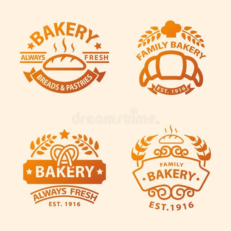 Van de het pictogrammanier van het bakkerij gouden kenteken van de de stijltarwe modern van het het voedseletiket vector retro he stock illustratie