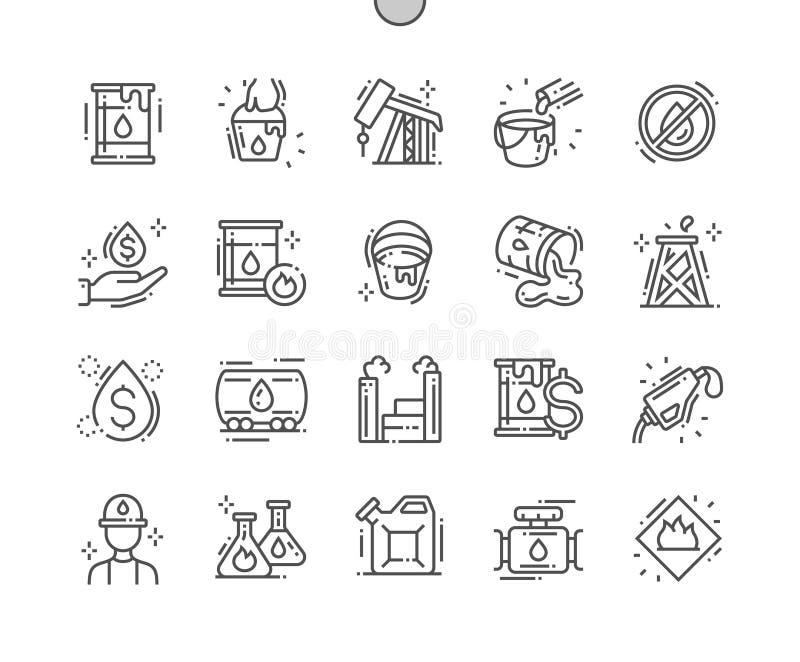 Van de het Pixel Perfecte Vector Dunne Lijn van de olieindustrie goed-Bewerkte Pictogrammen 30 2x-Net voor Webgrafiek en Apps royalty-vrije illustratie