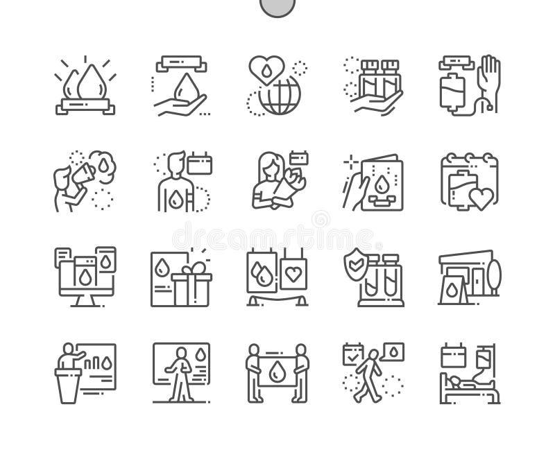 Van de het Pixel Perfecte Vector Dunne Lijn van de wereldBloedgever Dag goed-Bewerkte Pictogrammen 30 2x-Net voor Webgrafiek en A vector illustratie