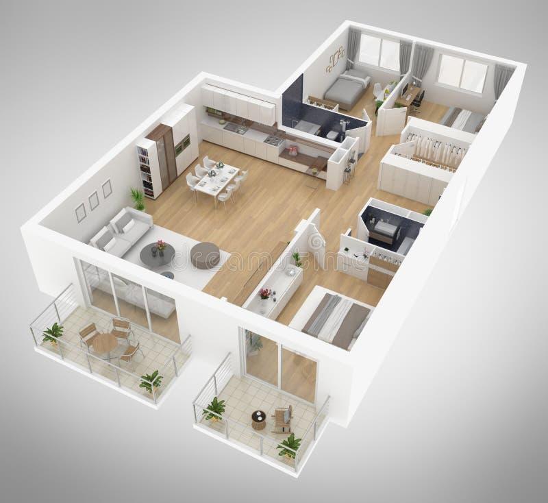 Van de het plan de hoogste mening van de huisvloer 3D illustratie vector illustratie
