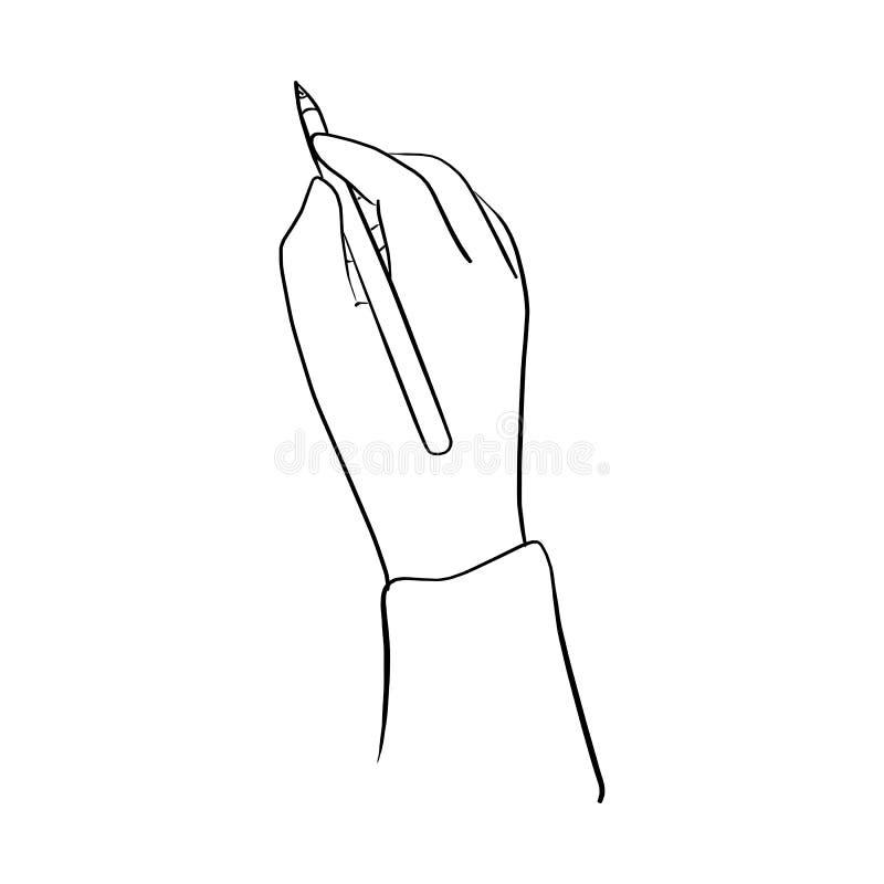 Van de het potlood vectordieillustratie van de handholding de schetshand met B wordt getrokken stock illustratie