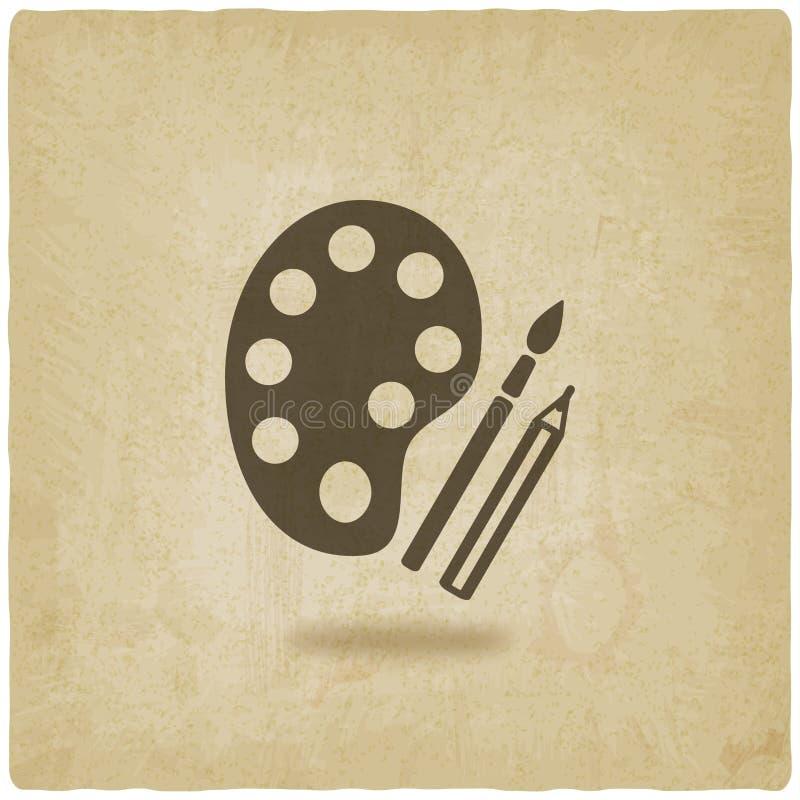 Van de het potloodkunst van het borstelpalet het symbool oude achtergrond stock illustratie