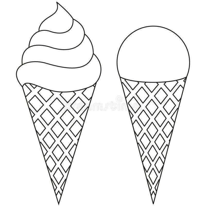 Van de het roomijskegel van de lijnkunst zwart-witte het pictogramreeks royalty-vrije illustratie