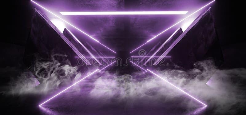 Van de het Ruimteschip Abstracte Driehoek van FI van Violet Purple Glowing Triangle Sci van het rookneon Futuristische Virtuele D stock illustratie