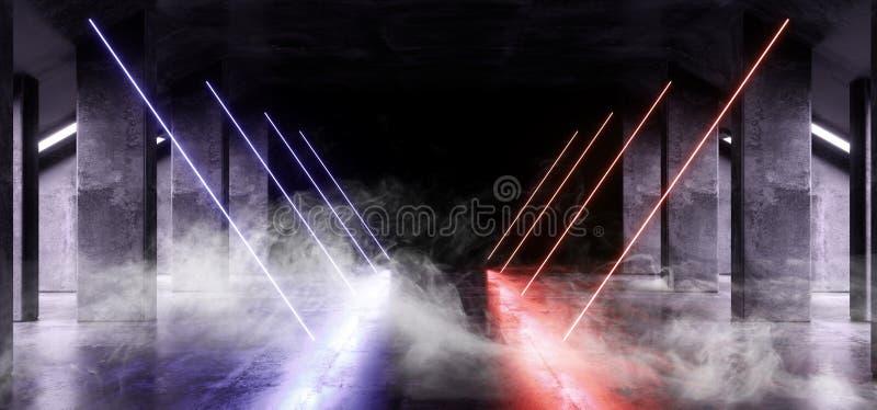 Van de het Ruimteschip Abstracte Driehoek van Violet Glowing Triangle Sci Fi van het rookneon het Blauwe Oranje Futuristische Vir royalty-vrije illustratie