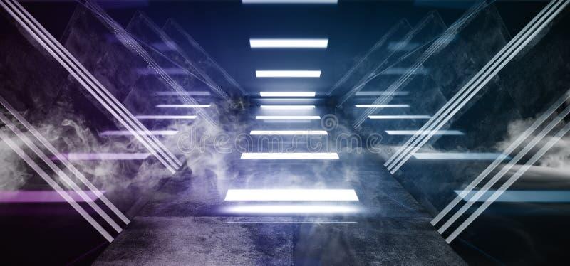 Van de het Ruimteschip Abstracte Driehoek van Violet Glowing Triangle Sci Fi van het rookneon Purpere Futuristische Virtuele Dark royalty-vrije illustratie