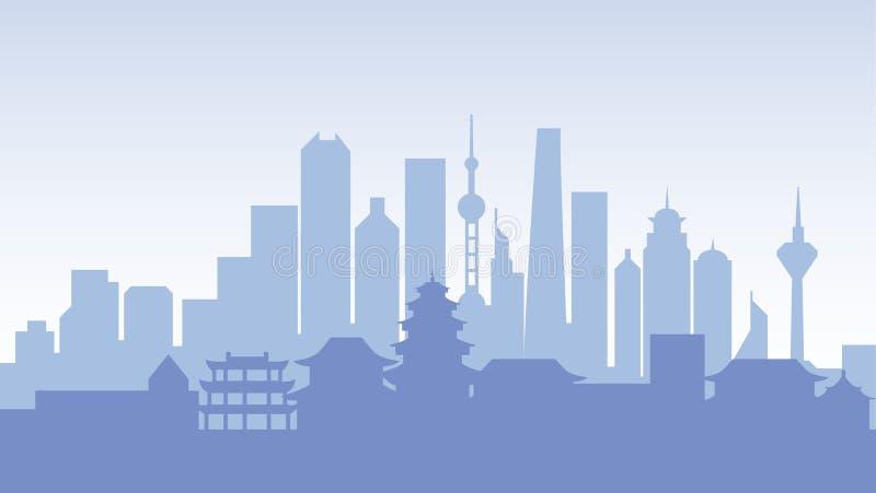 Van de het silhouetarchitectuur van China van de de gebouwenstad de reis van het de stadsland royalty-vrije illustratie