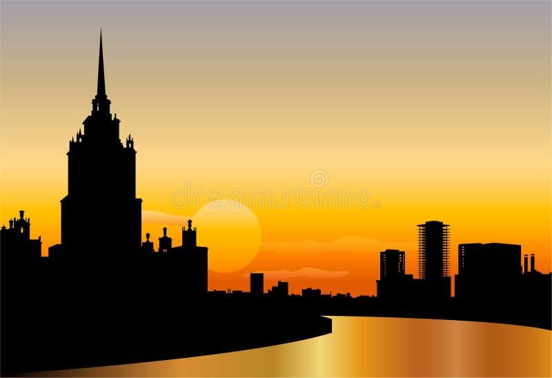 Van de het silhouethorizon van Moskou de zonsondergangvector vector illustratie