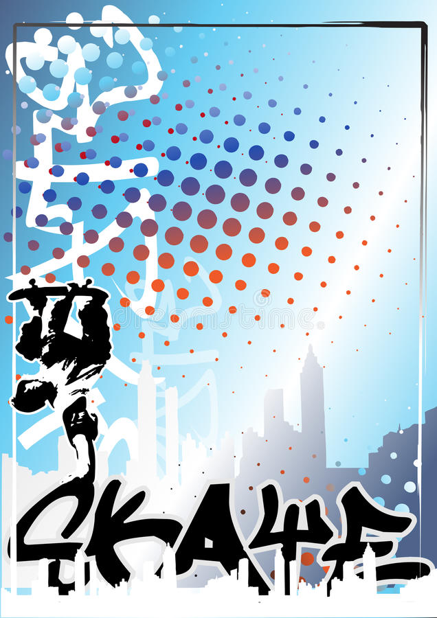 Van de het skateboardkleur van Graffiti de afficheachtergrond 1 stock illustratie