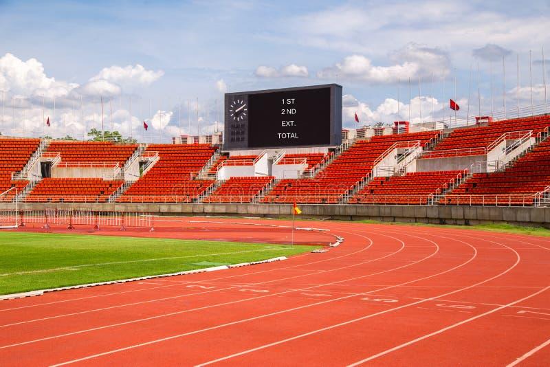 Van de het stadionrenbaan van de atletiek rode de lijnentekens Beginsteeg 1, royalty-vrije stock afbeeldingen