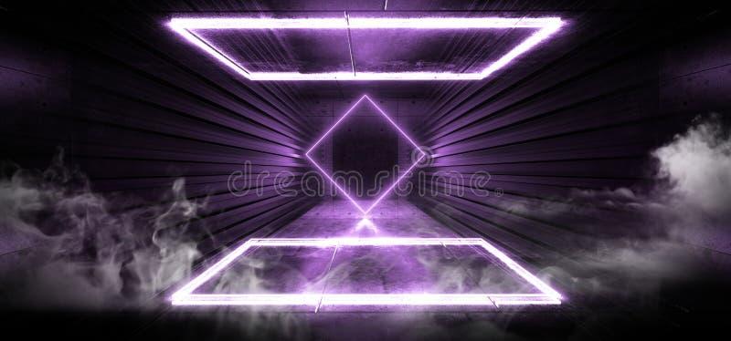 Van de het Stadiumbouw van het rookneon de Donkere van de Gloed Purpere Violet Retro Modern Sci Fi van de de Tunnelgang Futuristi royalty-vrije illustratie