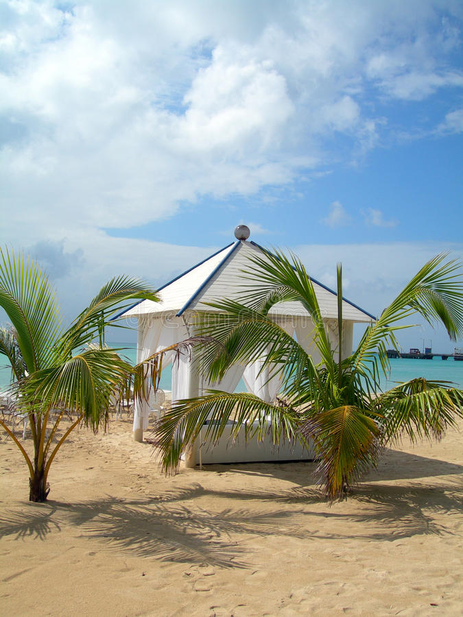 Van de het strandhut van de luxe het graaneiland Nicaragua stock foto's