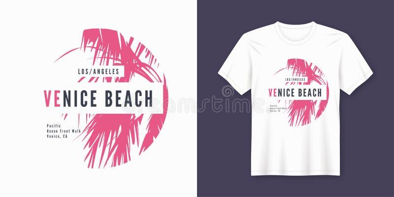 Van de het strandt-shirt en kleding van Venetië in ontwerp met palmsi royalty-vrije illustratie