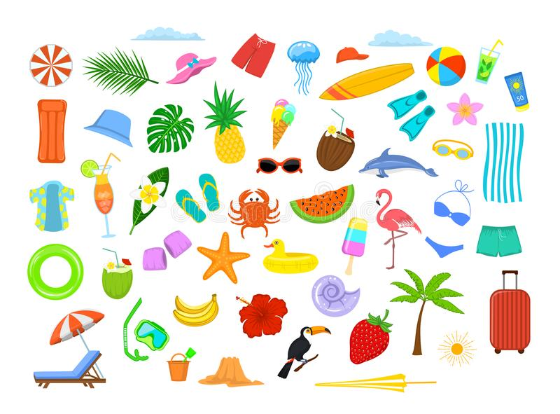 Van de het strandvakantie van de de zomertijd de elementen van het de reisontwerp, decoratie stock illustratie