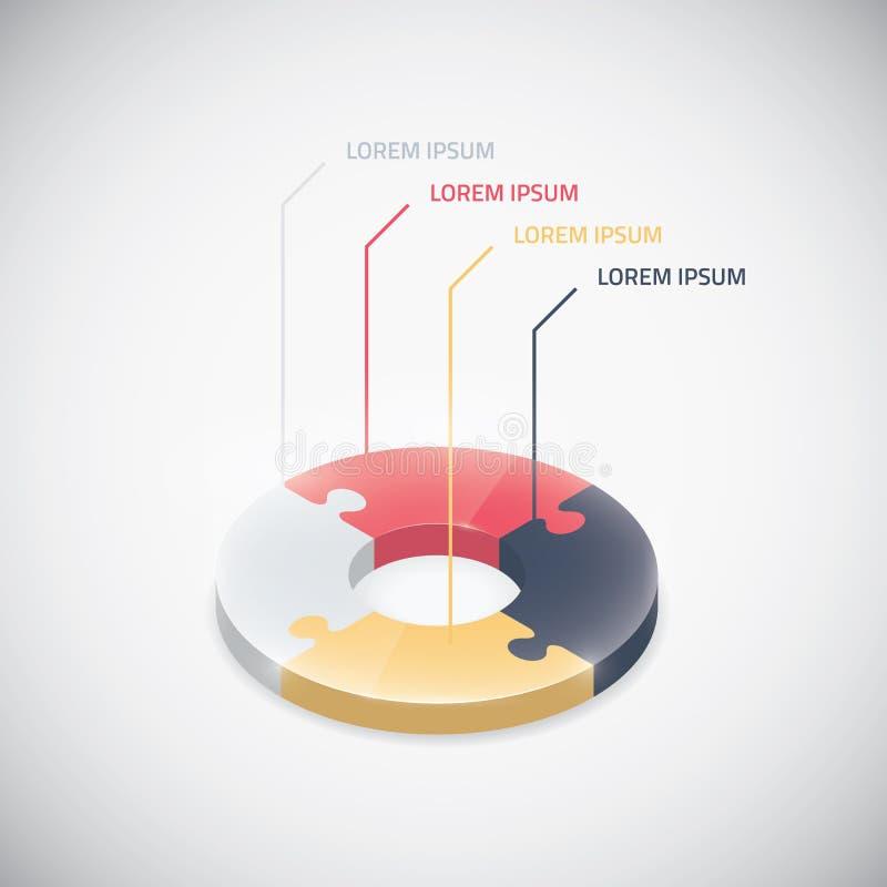 Van de het stuk de vectorfiguurzaag van het Infographicraadsel zaken ci stock illustratie