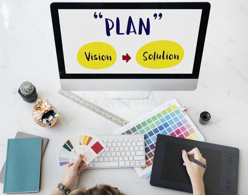 Van de het Succesvisie van de planstrategie de Oplossings Grafisch Concept royalty-vrije stock afbeelding