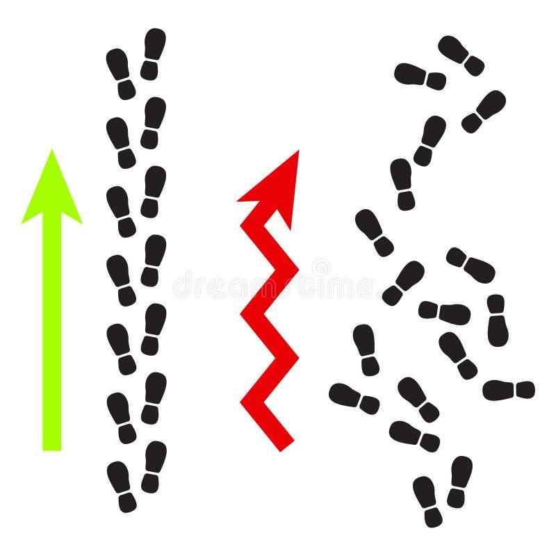 Van de het succesweg van voetafdruksilhouetten de vector van de de baanillustratie stock illustratie