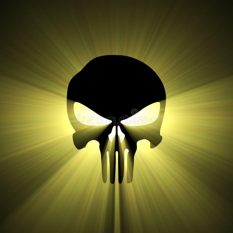 Van de het symboolzon van de schedel de lichte gloed royalty-vrije illustratie