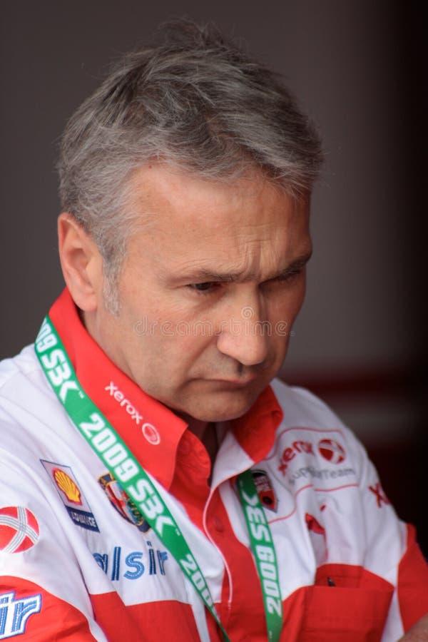 Van de het teammanager van Tardozzi van Davide het team van Ducati Xerox stock fotografie