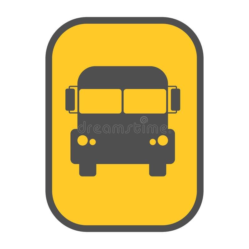 Van de het teken gele kaart van de schoolbus de wijzervector stock illustratie
