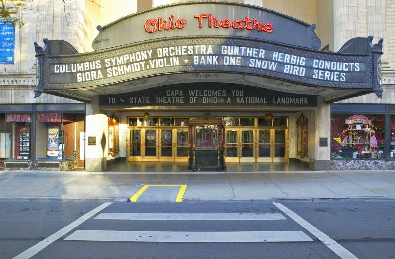 Van de het Theatermarkttent van Ohio het theaterteken die Columbus Symphony Orchestra in Columbus van de binnenstad, OH advertere stock foto's