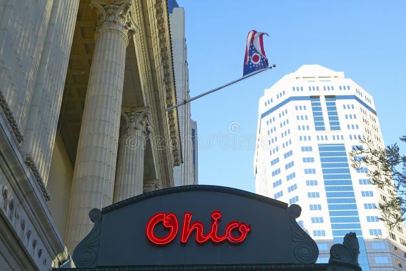 Van de het Theatermarkttent van Ohio het theaterteken die Columbus Symphony Orchestra in Columbus van de binnenstad, OH advertere royalty-vrije stock fotografie