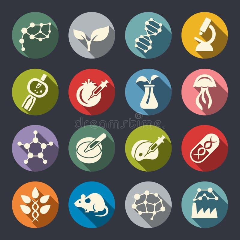 Van de het themacirkel van de biotechnologiewetenschap de vlakke pictogrammen stock illustratie