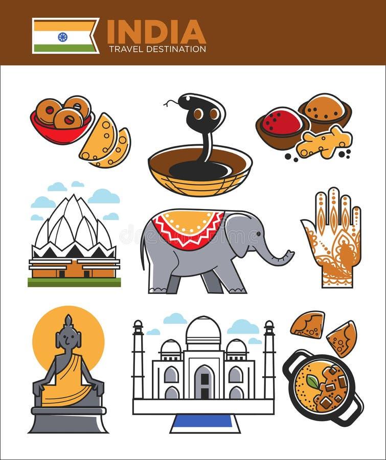 Van de het toerismereis van India beroemde het oriëntatiepuntsymbolen en Indische cultuur vectortoeristische attracties royalty-vrije illustratie