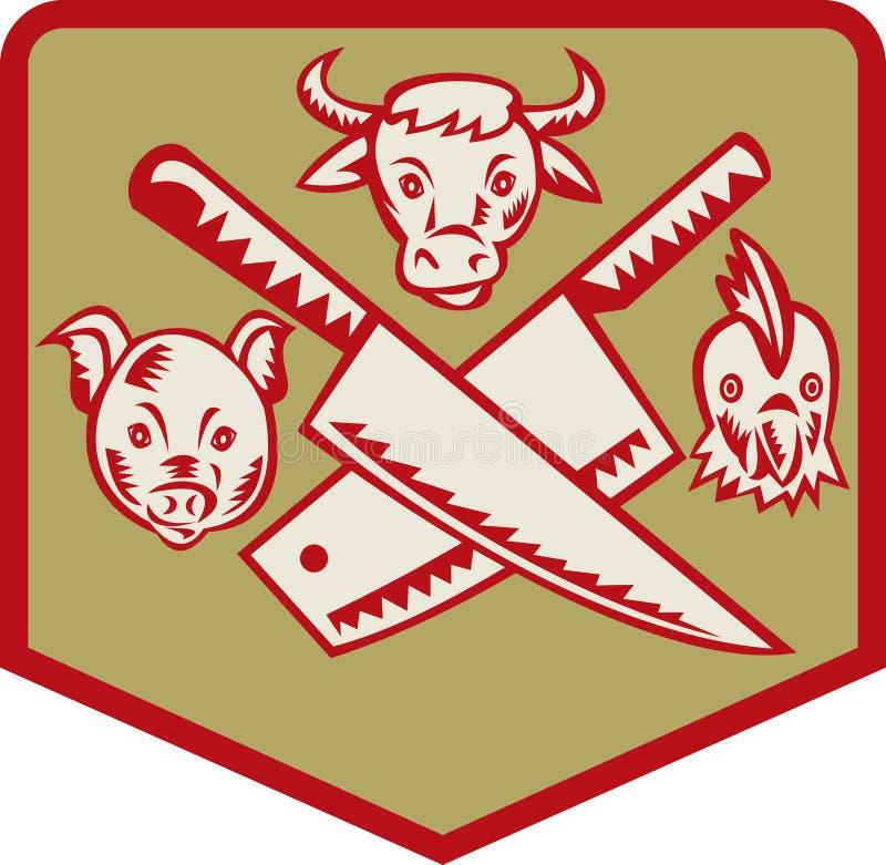 Van de het varkenskip van de koe de slagersmes stock illustratie
