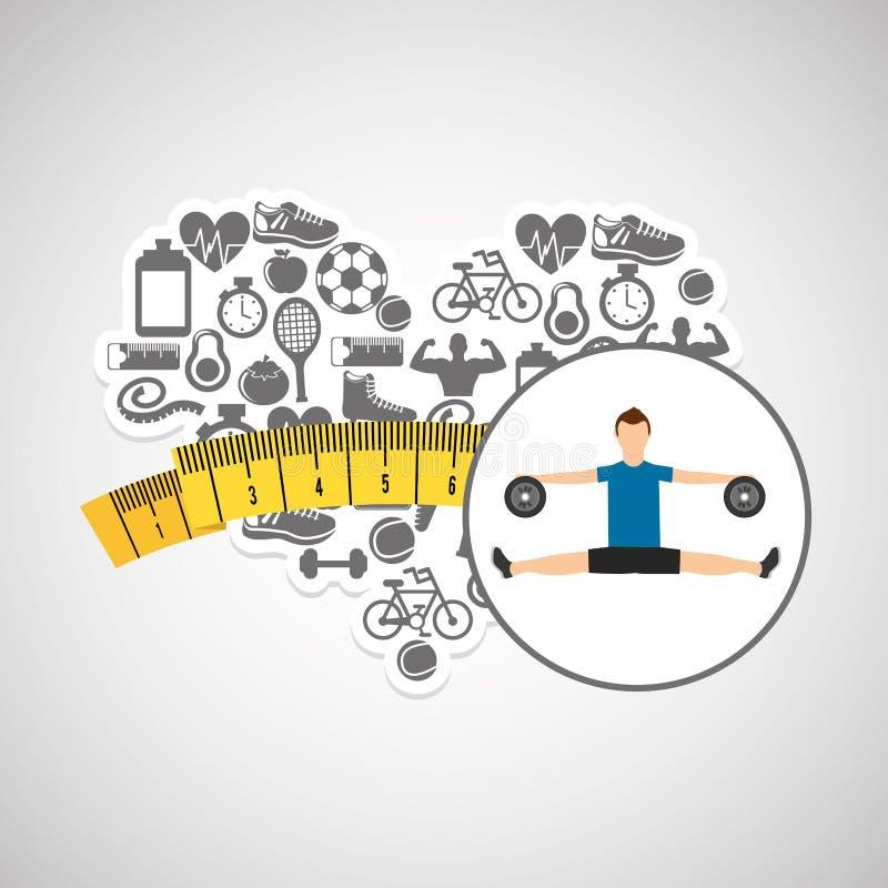 Van de het verliessport van het hartgewicht de persoonsoefening vector illustratie